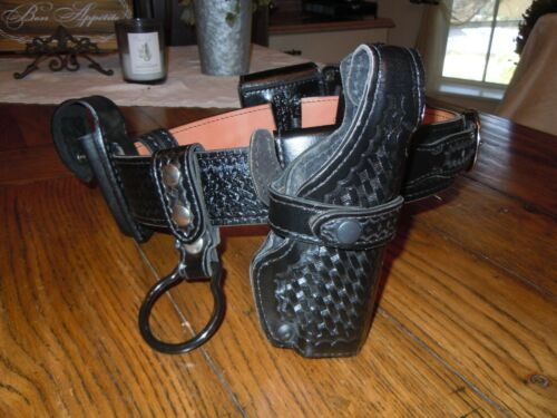 "Safariland 32"" Duty Belt Basketweave W/ Accessories Glock Holster Cuff & Keepers"