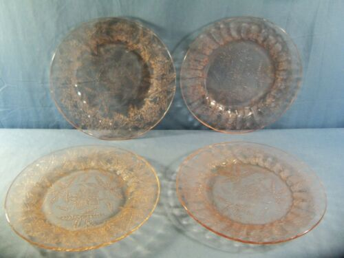 "Set of 4 Jeannette FLORAL POINSETTIA Pink Depression Glass Dinner Plates 9"" Wide"