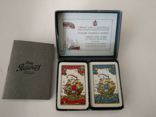 1924 ORIENTAL LINE to AUSTRALIA TRAVEL SIZE PLAYING CARDS DOUBLE DECK PATIENCE
