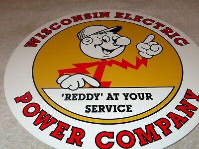"VINTAGE REDDY KILOWATT WISCONSIN ELECTRIC+ POWER 11 3/4"" METAL GASOLINE OIL SIGN"