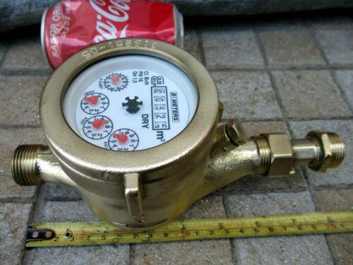 """Vintage All True Brass Museum Functional Watermeter Water Meter 3/4"""" Standart"""