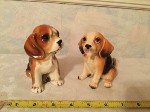 2 Vintage Porcelain Beagle Dogs Figurine Made In Japan Nice Detail