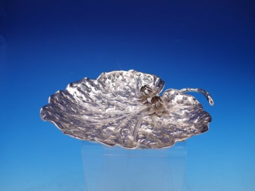 Silver Lily Pad Shaped Plate with Hand Chased and Applied Flowers (#4320)