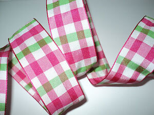 PInk & Green Gingham Check Wired Ribbon, Bows, Valentines Decorative, Crafts