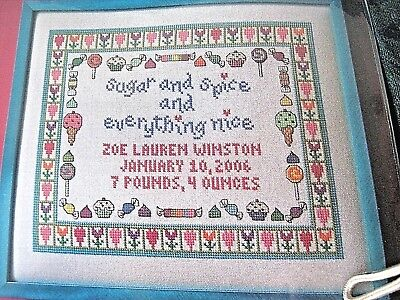 "Cross Stitch ""SUGAR AND SPICE BIRTH ANNOUNCEMENT"" pattern ~ candy, ice cream"
