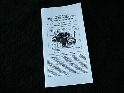 LIONEL TRAIN SET ENGINE ZW 275 WATT TRANSFORMER INSTRUCTION MANUAL COPY