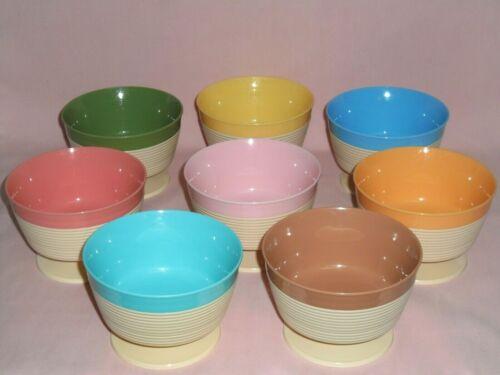 Raffiaware Thermo-Temp Footed Dessert Ice Cream Bowls Ribbed Plastic Melmac MCM