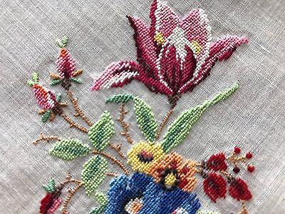 Vintage UNUSED Swiss Petit Point Embroidered White Cotton Hankie Tulips Roses