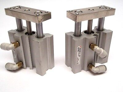 Lot Of 2 Smc Mgqm12-20 Slide Ball Bearing Compact Guide Cylinder