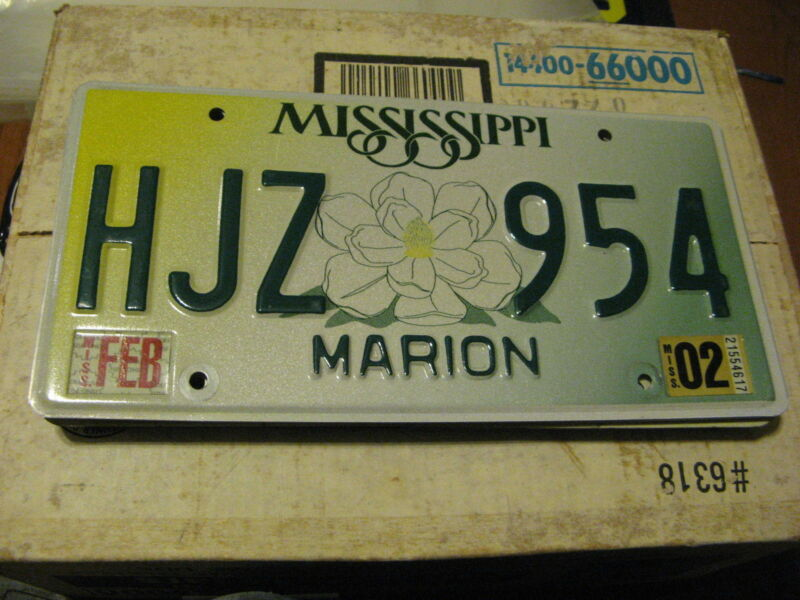 2002 02 MISSISSIPPI MI LICENSE PLATE MARION COUNTY NATURAL STICKER HJZ 954