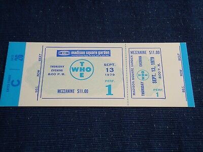 THE WHO FULL 1979 UNUSED CONCERT TICKET MADISON SQUARE GARDEN ROGER DALTREY USA