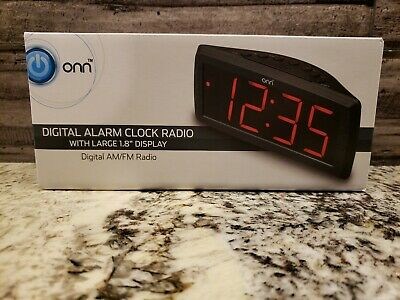 ONN Digital Alarm Clock Radio with Large 1.8 Display Digital AM/FM Radio New