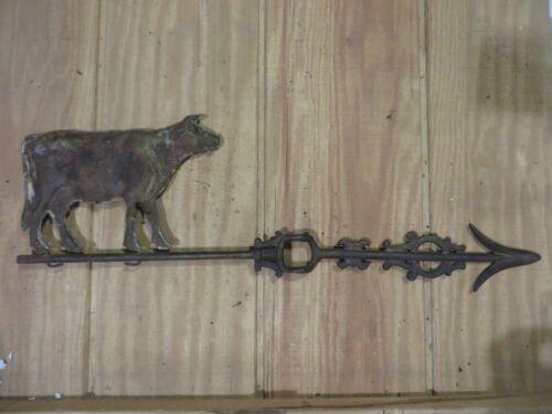 Large hollow cow weather vane lightning rod arrow antique weathervane