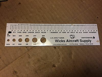 Vintage Wicks Aircraft Supply A.n. Bolt Gauge Decimal Millimeter Equivalents