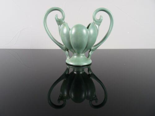 Vintage Camark Green Art Pottery Vase USA 505 Double Handle Flower Planter