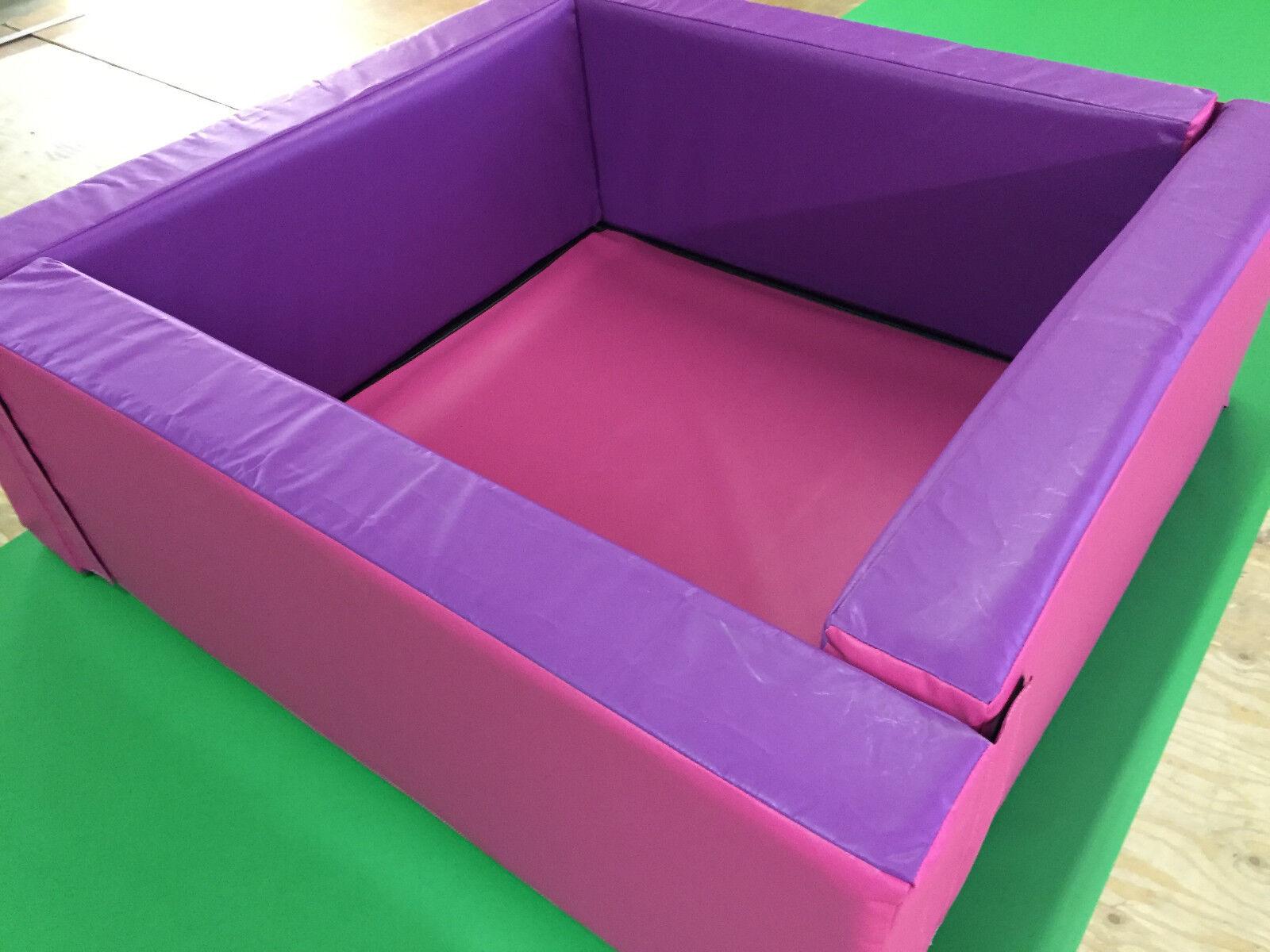"Pink / Purple  Soft Play Ball Pond *4.6ft  x 4.6ft x 16"" x 6inch  Velcro"
