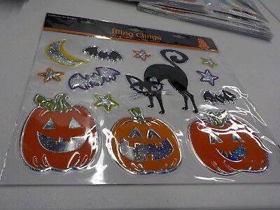 BLING CLINGS HALLOWEEN PUMPKINS CATS WALL WINDOW DECOR NEW #3783 (Halloween Decorated Windows)