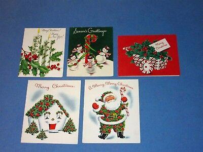 5 Vtg Holly Christmas Card Norcross Cottage Santa Cart Snowman Candycane Candles