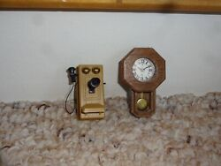 Vintage Dollhouse Miniatures Old Fashioned Phone Wood Case Regulator Wall Clock