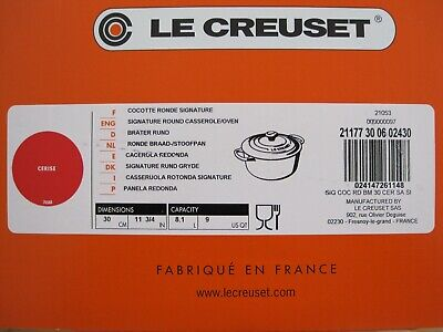 NEW IN BOX LE CREUSET SIGNATURE CERISE RED 9 QUART ROUND DUTCH OVEN WITH LID