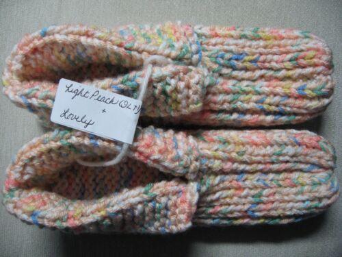 "NWOT Amish Handmade House Slippers Peach/Pastels Ladies Womans Med 8 3/4"""