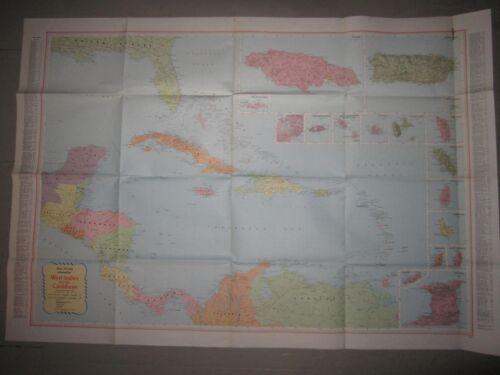 "Vintage Rand McNally Cosmopolitan Map, West Indies & the Caribbean, 52"" x 36"""