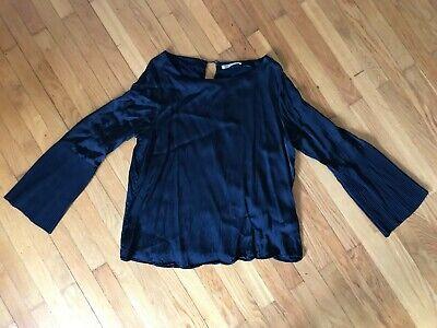 Ärmel Plissee Bluse (Smith&Soul Damen Bluse Shirt Gr. L Dunkelblau Blau Plissee Ärmel)