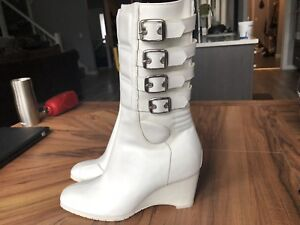 Ladies leather motorcycle boots - white