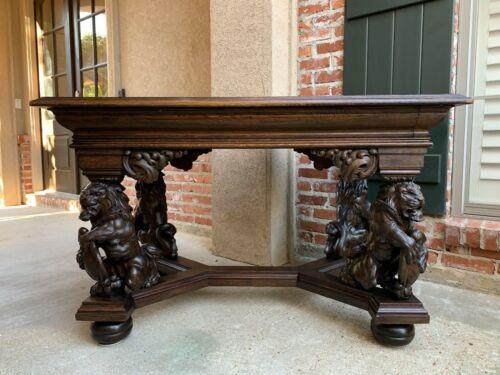 Antique French Carved Oak Desk Library Table Lion Crest Renaissance Baroque
