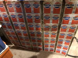 Uncut sheet of 35 1970's Pepsi cans