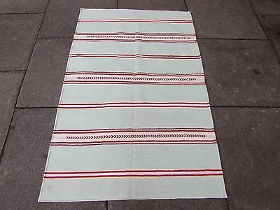 Old Traditional Hand Made Indian Dari Oriental Aqua Red Cotton Kilim 145x95cm