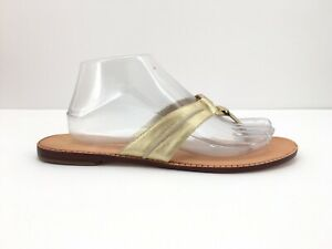 88297c743aa6 Lilly Pulitzer Womens McKim Flip Flops Gold 10M Sandals Ring Metallic  Leather