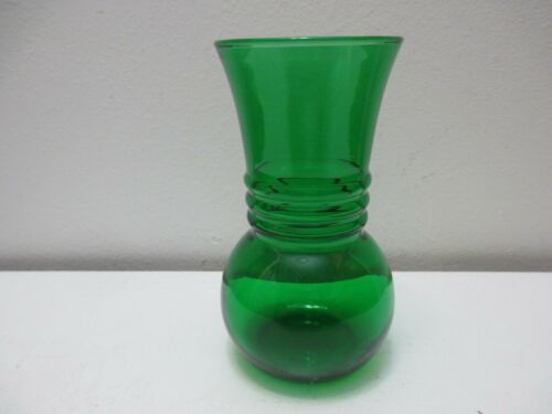 """Vintage Anchor Hocking Glass Forest Green Vase with 3 Rings 6 1/4"""" T"""