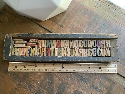 Assorted Vintage Letterpress Wood Type Printing Block Numbers 46 Pcs W Wood Box