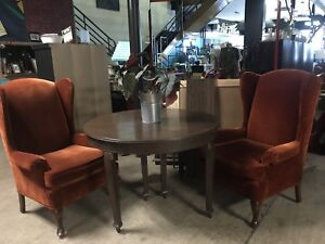 Wingback Chairs/Antique Table