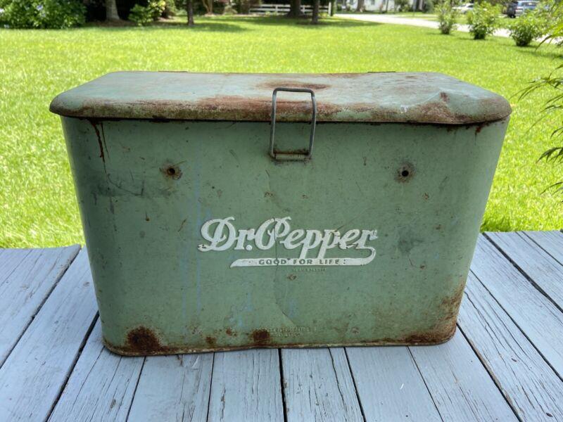 VINTAGE 1940's DR PEPPER PICNIC COOLER, ORIGINAL! Antique Advertising Display