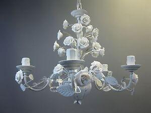Metall Kronleuchter Deckenlampe Lüster Florentiner Lampe Rosen Porzellan 45 cm
