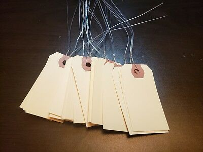 100 Wired Manila Tags Size 1 2 34x 1 38 Inventory Shipping No String Strung