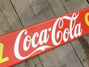 NICE-1950s-COCA-COLA-PORCELAIN-DOOR-PUSH-BAR-SIGN-CANADA-DATED-1958