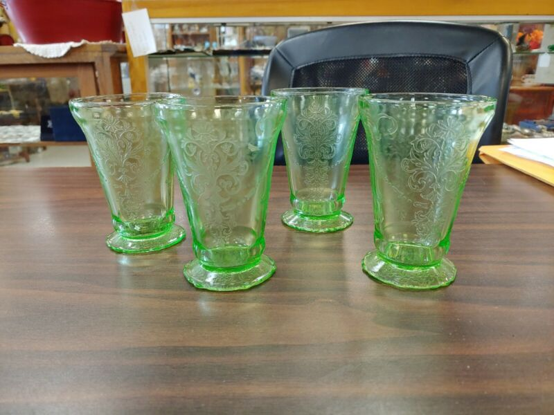 BEAUTIFUL BELMONT BOWKNOT GREEN DEPRESSION FOOTED TUMBLER SET OF FOUR