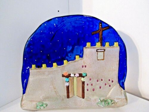 Vintage Signed TED DEGRAZIA Handmade Art Glass Cobalt Navajo Church Candle Stand