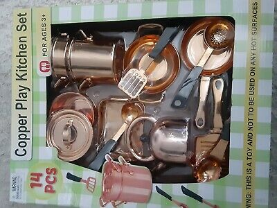 14 Piece Copper Kitchen Cookware Play Set