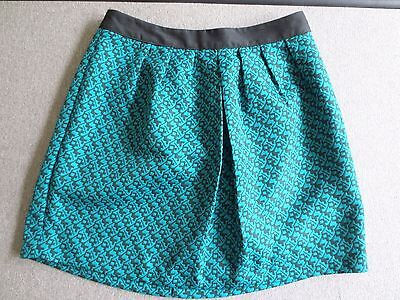 Mossimo Short Skirt Teal Gray Print  Lined  Size XS  NWOT