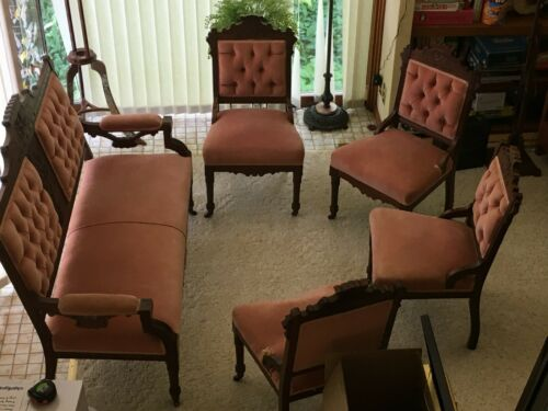 Victorian Parlor Set with Settee + 4 Chairs