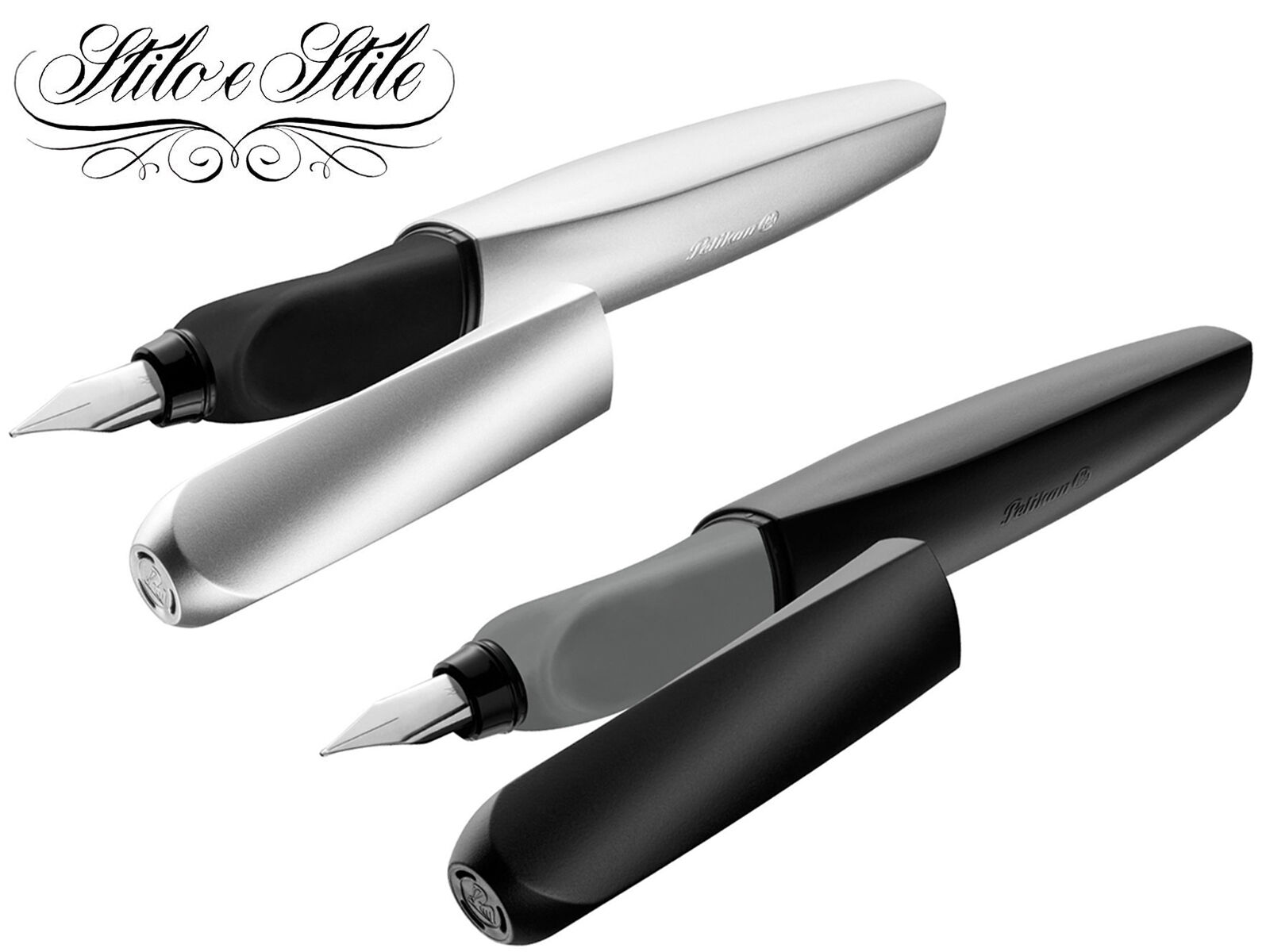Pelikan Twist Black & Silver | Penna Stilografica Ergonomica | Fountain Pen