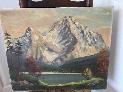 F. BERGER GERMAN MOUNTAIN ZUGSPITZE LANDSCAPE W/ LAKE  PAINTING 1964
