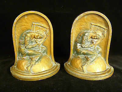 SIGNED PAIR OF VINTAGE KRONHEIM & OLDENBUSCH 'LOST HOPE' CLASSICAL BOOKENDS 1932