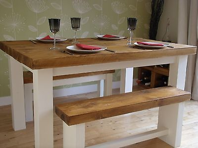"""DINING/KITCHEN TABLE CHUNKY RUSTIC PLANK SOLID WOOD 2"""" TOP AND BENCHES"""