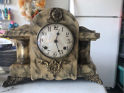 Antique Faux Marble Painted Waterbury Mantel Clock W/key And Pendulum Needs Work