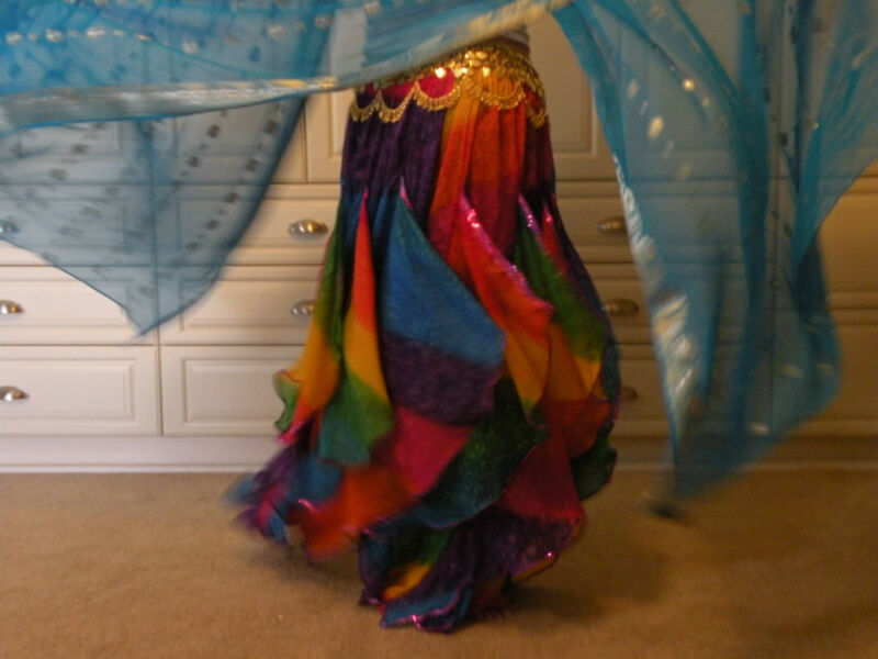 RAINBOW ENDLESS WAVE HAREM PANTS, CHIFFON & SEQUINS for BELLY DANCE, From  INDIA